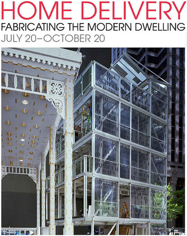 "poster for ""Home Delivery: Fabricating the Modern Dwelling"" Gallery Talk with Cari Frisch"