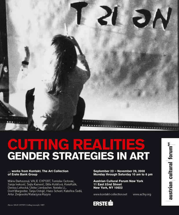 "poster for ""Cutting Realities: Gender Strategies in Art"" Exhibition"