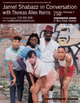 "poster for ""Jamel Shabazz in Conversation with Thomas Allen Harris"" Art Talk"
