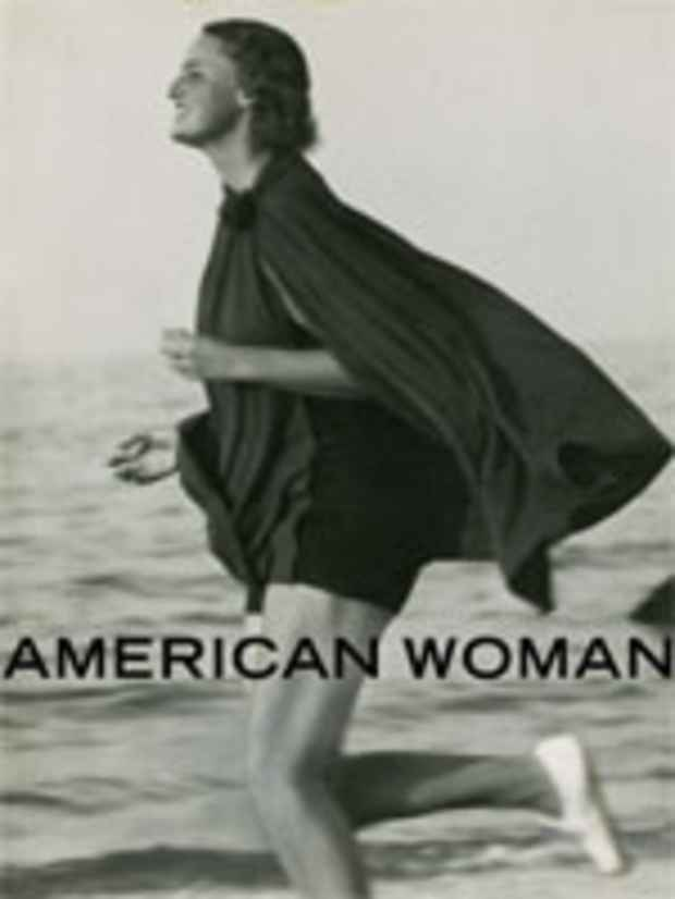 "poster for ""American Woman: Fashioning a National Identity"" Exhibition"