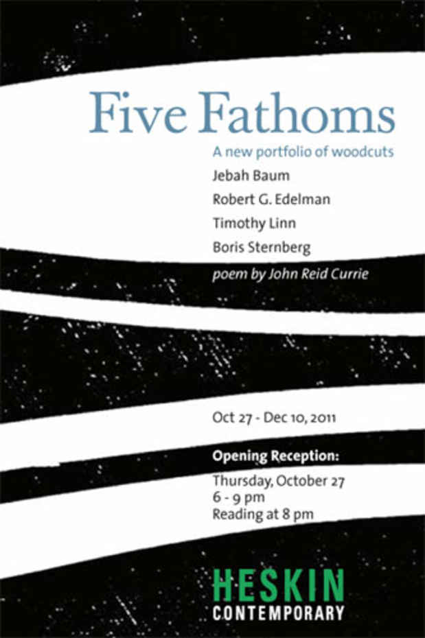 "poster for ""Five Fathoms: A New Portfolio of Woodcuts"" Exhibition"