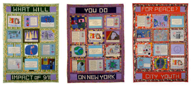 "poster for ""The 9/11 Peace Story Quilt"" Exhibition"