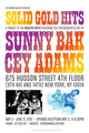 "poster for Sunny Bak & Gey Adams ""Solid Gold Hits"""