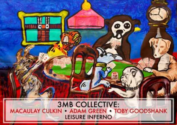 "poster for 3MB Collective: Macaulay Culkin, Toby Goodshank, Adam Green ""Leisure Inferno"""