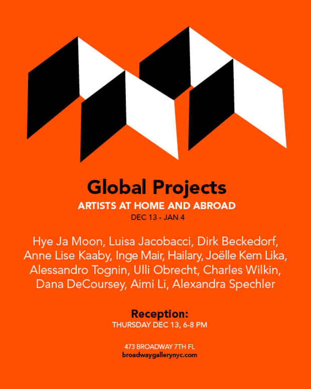 "poster for ""Global Projects: Artists at Home and Abroad"" Exhibition"