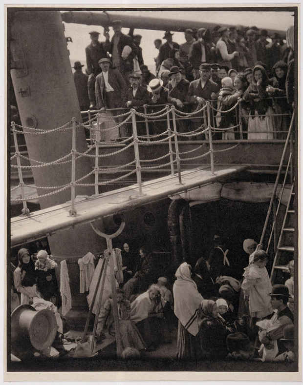 "poster for ""Masterpieces & Curiosities: Alfred Stieglitz's The Steerage"" Exhibition"