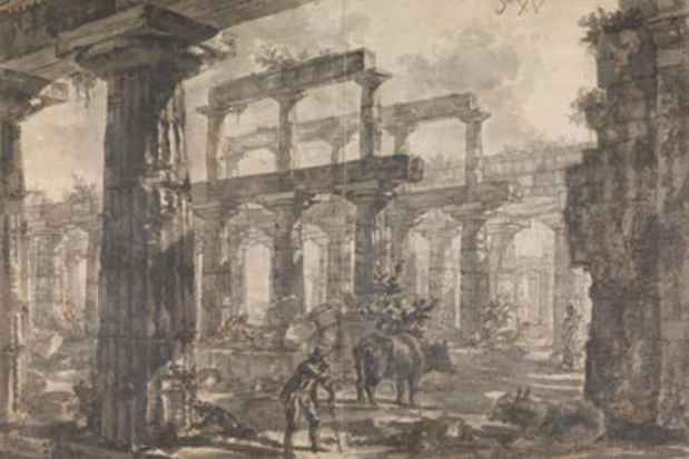 "poster for ""Piranesi and the Temples of Paestum: Drawings from Sir John Soane's Museum"" Exhibition"
