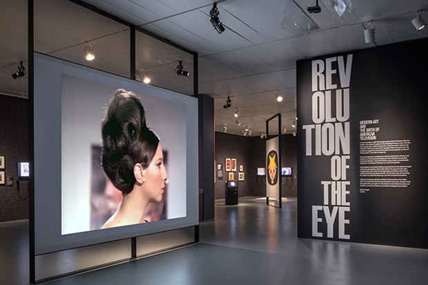 "poster for ""Revolution of the Eye: Modern Art and the Birth of American Television"" Exhibition"
