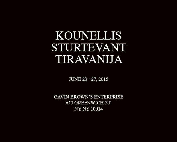 poster for Kounellis, Sturtevant, Tiravanija Exhibition
