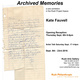 "poster for Kate Fauvell ""Archived Memories"""