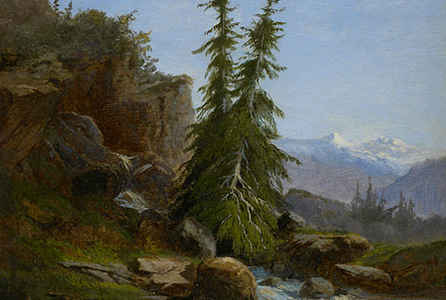 "poster for ""Rocks and Mountains: Oil Sketches from the Thaw Collection"" Exhibition"