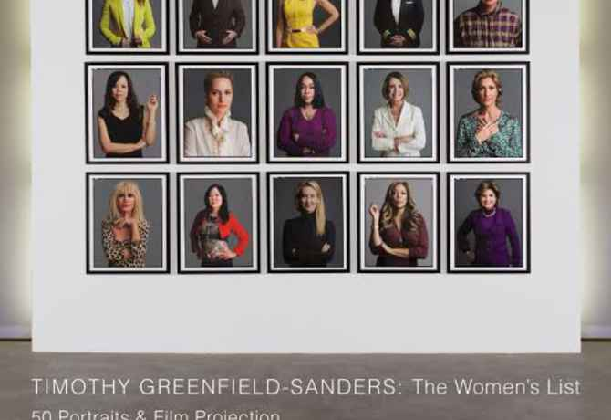 "poster for Timothy Greenfield-Sanders ""The Women's List: 50 Portraits & Film Projection"""