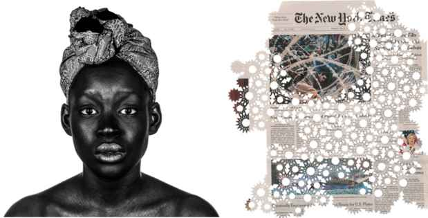 "poster for Ima Mfon ""Nigerian Identity"" and Donna Ruff ""The Migrant Series"""