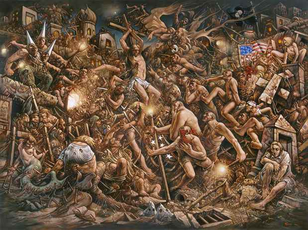 "poster for Peter Howson ""Prophecy"""