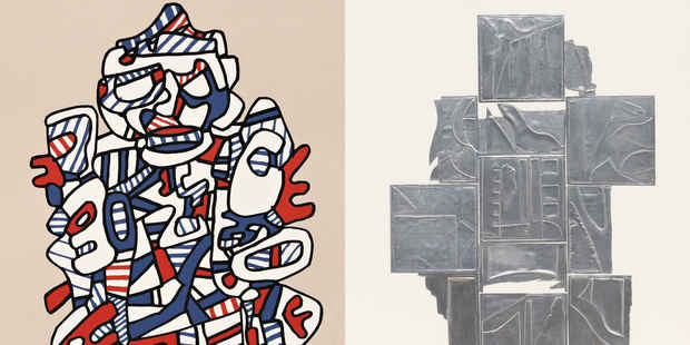 poster for Louise Nevelson and Jean Dubuffet Exhibition
