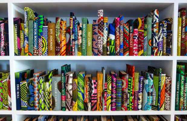 "poster for Yinka Shonibare MBE ""Prejudice at Home: A Parlour, a Library, and a Room"""