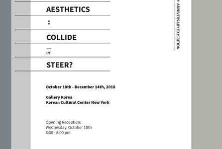 "poster for ""Postmodernism and Aesthetics: Collide or Steer?"" Exhibition"