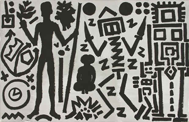 "poster for A.R. Penck ""Paintings from the 1980s and Memorial to an Unknown East German Soldier"""