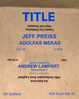 "poster for Jeff Preiss ""Title"""