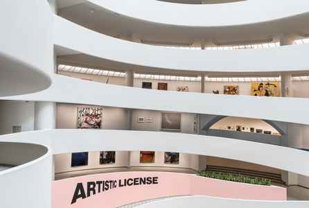 "poster for ""Artistic License: Six Takes on the Guggenheim Collection"" Exhibition"