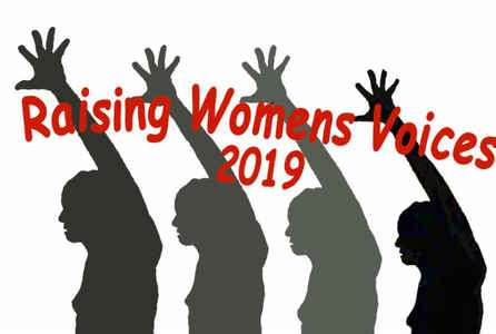 "poster for ""Raising Women's Voices, 2019"" Exhibition"