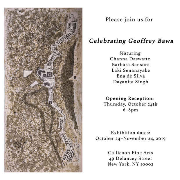 "poster for ""Celebrating Geoffrey Bawa"" Exhibition"