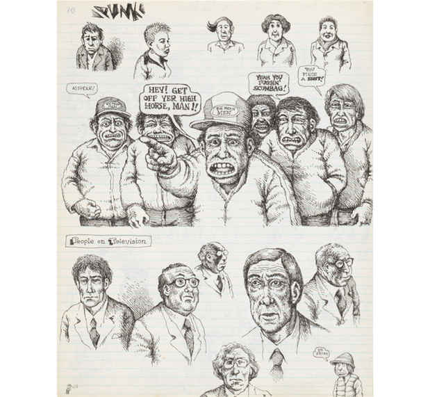 "poster for R. Crumb ""Drawing for Print: Mind Fucks, Kultur Klashes, Pulp Fiction & Pulp Fact"""