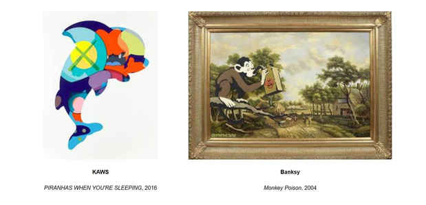 "poster for ""Ten Monkeys and a Dolphin: Banksy & KAWS"" Exhibition"