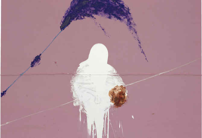 "poster for Julian Schnabel ""The Sad Lament of the Brave, Let the Wind Speak and Other Paintings"""