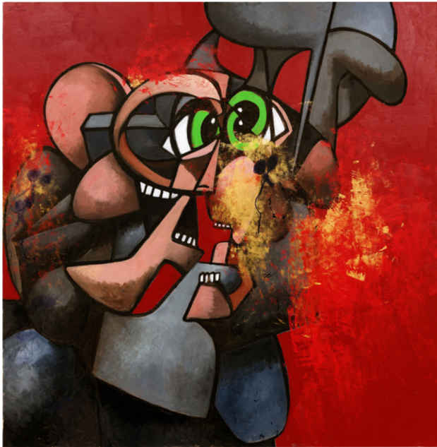 "poster for George Condo ""Internal Riot"""
