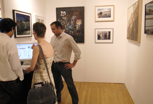 Art Log in its booth. Art Log is one of the few online art listings and portofolios in NY.