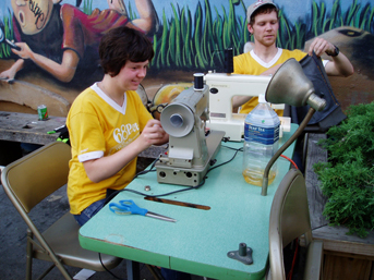 Eliza and Elliot Montgomery making 'Bushy Bags' on Bogart Street (2008)