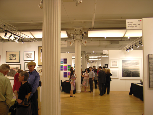A little bit of open space on a very busy opening evening.
