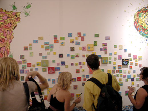 A wall of small works seems very popular - the art is quickly disappearing.