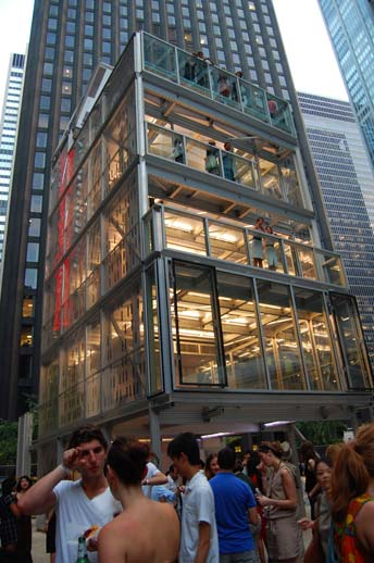 The Cellophane House by Stephen and James Timberlake was arguably the star of the show, though someone was overheard remarking, ''It looks so big from the outside, but there's surprisingly little living space once you get inside.'' Photo © 2008 Teri Duerr.