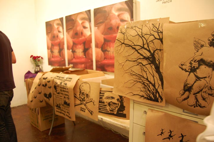 Some of Patch's work along the wall and Dave Tree's in the foreground. Each person was invited to choose the design for their silk-screen.