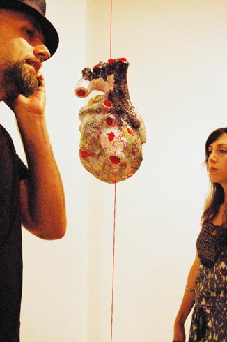 Krista Hoefle's hanging human heart. Photo © 2008 Teri Duerr.