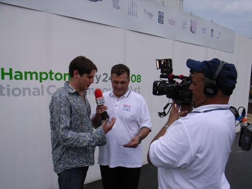 Local TV crew interviewing Alexis Hubshman.