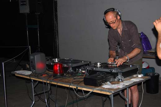DJ Matt Radune at the turntables. Photo © 2008 Teri Duerr.
