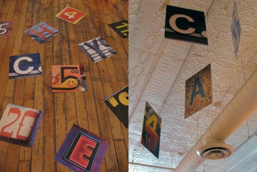 Floor and ceiling images used for games. Photo: Kristen Hewitt.