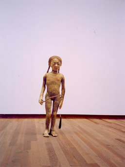 Pawel Althamer (b. 1967). 'Weronika' (2001). Straw, hemp fiber, animal intestine, wax, hair, wooden stick, and feather. Approx. 41 3/8 x 15 3/4 x 9 7/8 in (105 x 40 x 25 cm). Lithops Collection.