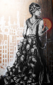 Imminent Disaster, 'Cargando Dinamita.' Original paper cut, stencil, drawing and print on archival paper mounted on recycled wood, 4 ft x 7 ft. Image courtesy of Ad Hoc Art.