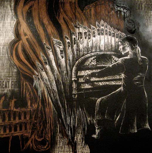 Imminent Disaster, 'The Organist.' Original one of a kind block print, original stencil work, silkscreening and hand painting on recycled plywood, 8 ft x 8 ft. Image courtesy of Ad Hoc Art.