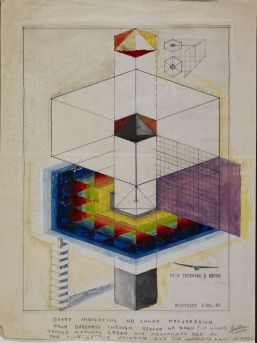 '4D Tower: Time Interval 1 Meter' (1928). Gouache and graphite over positive Photostat on paper 14 x 10 7/8 in. (35.6 x 27.6 cm). Image courtesy Avery Architectural and Fine Arts Library, Columbia University in the City of New York