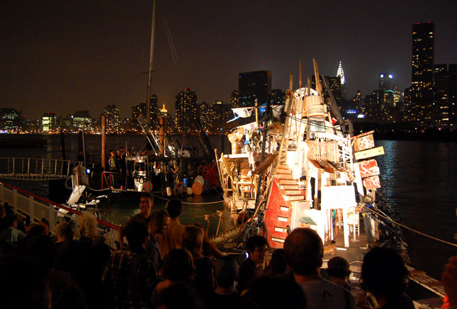 ''Swimming Cities of Switchback Sea'' performance by Swoon & Crew at Deitch Studios later that evening. Photo © 2008 Teri Duerr.