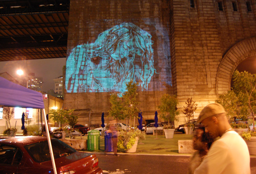 Who's Who of Graffiti slideshow projected onto the Manhattan Bridge. Photo © 2008 Matt Schlecht.