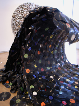 A wave made of vinyl records.