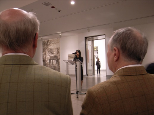 Gilbert and George, as always impeccably groomed, dressed and behaved, were easy to spot in the front row during an opening speech by Judy Kim, curator of exhibitions at the Brooklyn Museum.