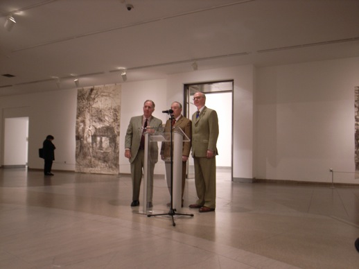 Gilbert and George answering questions from the audience.