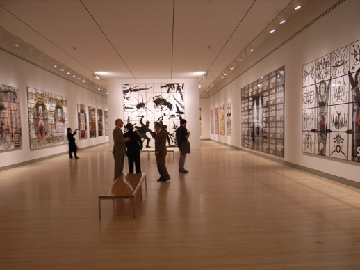 In the main gallery of the fourth floor with more of the massive works in more monochromatic tones.